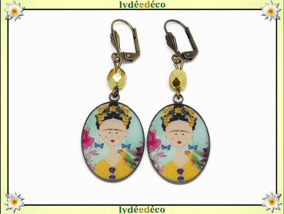 Retro frida Kahlo butterfly earrings blue yellow yellow pink resin bronze brass beading birthday party of mothers christmas