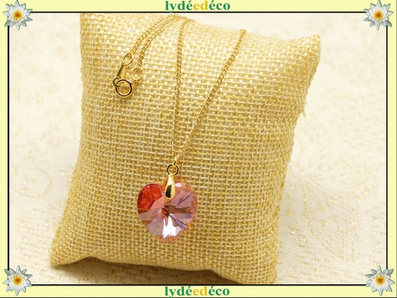 Xilion HEART crystal pendant swarovski pink peach or purple gold-filled 14k gold jewel ceremony wedding accessory bride happiness