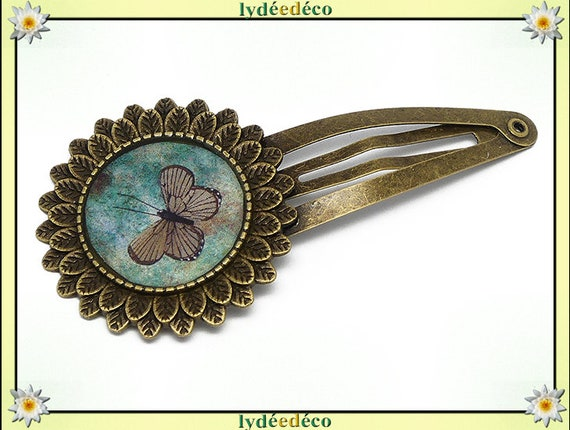 Hair clip wedding retro resin hair clip green brown Butterfly brass bronze mothers birthday gift