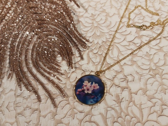 SaKURA Japan necklace cherry blossom brass or 24k gold filled 14k resin mother's gift Christmas wedding ceremony