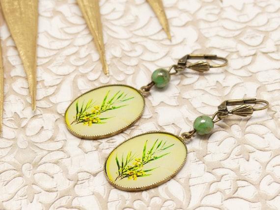 MIMOSA retro curls vintage flower yellow green resin resin bronze beads gift