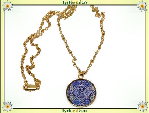 Azulejo Lisboa Golden brass gold 24 carat 24 k White Blue resin necklace matinee mothers birthday gift