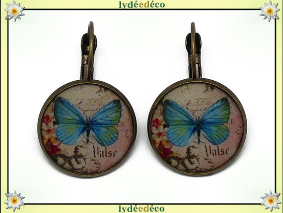 Earrings retro Butterfly blue pink black pastel resin and brass bronze 2cm mothers birthday gift