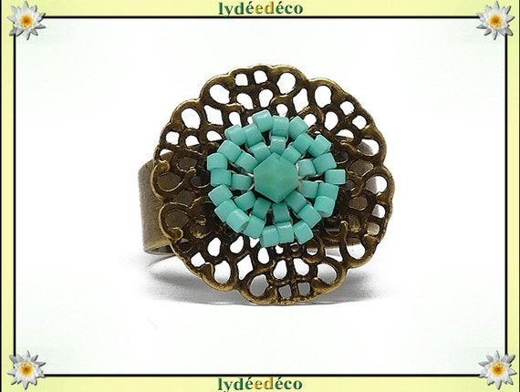 Ring with brass beads woven flower print Japanese green turquoise colors 20mm adjustable mothers gift Christmas birthday party