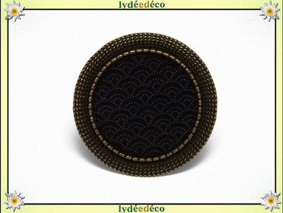 Round ring retro vintage Japan Asian motif Arabesque adjustable brass diameter 20mm resin black gray