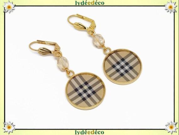 Earrings scottish tiles beige black tartan Outlander or 24k resin resin resin resin birthday gift party of wedding mothers