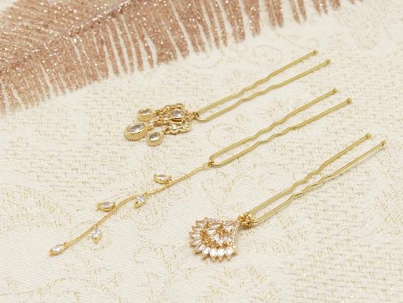 3 pins BELLA pique bun accessory hairstyle zircon rhinestones Japan golden wedding ceremony bride bride bridesmaid