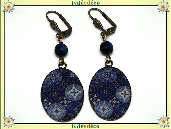 Azulejos Lisbon blue retro earrings dark blue sky white resin bronze beads anniversary gift personalized mother's day