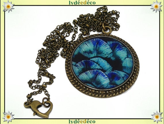 Necklace vintage retro Peacock feather blue turquoise purple resin brass Locket 25mm heart mother's day birthday gift