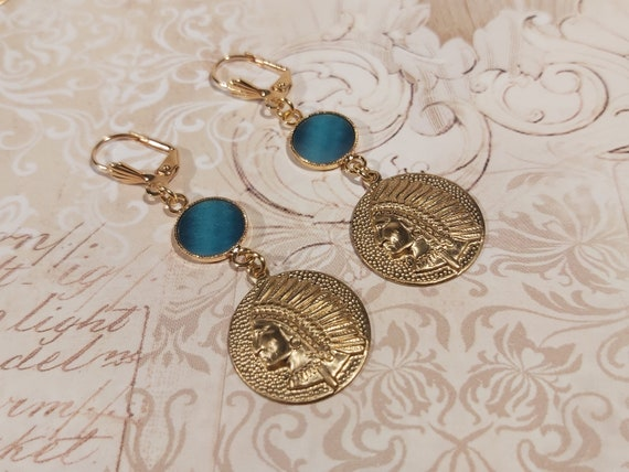 SIOUX gold brass curls 24k blue turquoise duck or resin birthday gift birthday Christmas wedding Christmas
