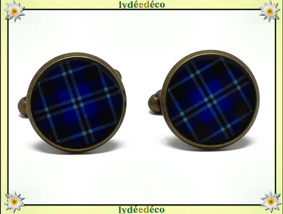 2 cuff buttons costume resin Scottish fabric blue black Tartan Outlander brass 14mm feast of fathers birthday gift master