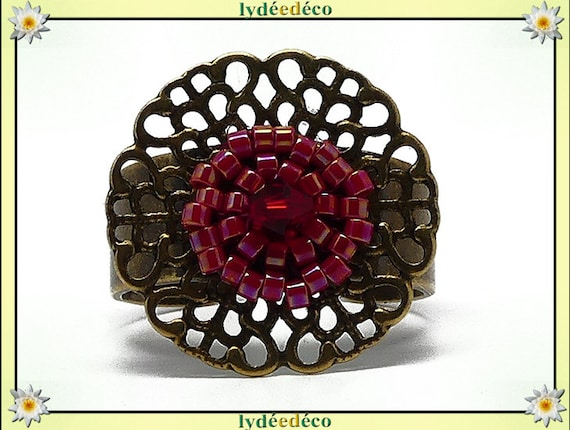Ring brass woven flower print beads Japanese colors red 20mm adjustable gift Christmas birthday mother's day