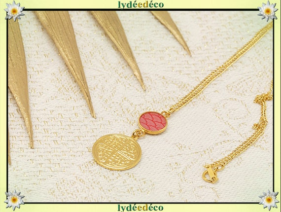 COLLAR CHANCE brass neck tower gold 24k gold filled 14k seigaiha pink or turquoise or wave Japan ceremony mother's party gift