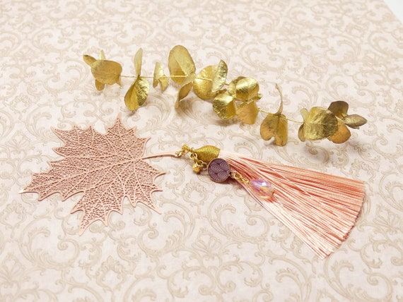 Brand pages LEAF books resin pearl pomeron erable art deco tree fan golden pink mothers' birthday gift