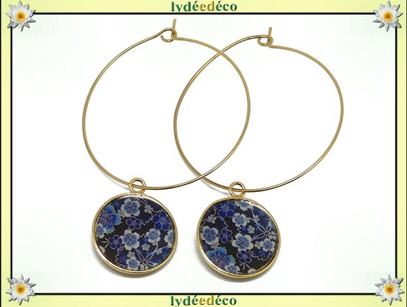 Earrings Creoles flower cherry Japan Golden brass gold fine 24k blue black white resin feast of mothers birthday gift thank you mistress