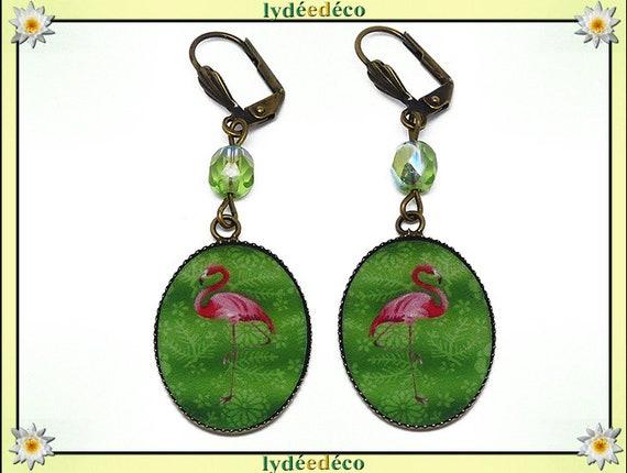 Retro earrings resin exotic Flemish pink flamingo green resin beads bronze medallions 18 x 25mm