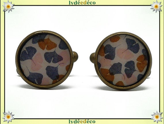 2 button cuffs retro resin pink Brown grey white Ginko Japan brass bronze 14mm master thank you for father's day birthday gift