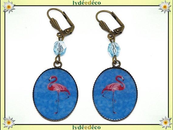 Retro earrings resin exotic Flemish pink flamingo blue resin beads bronze medallions 18 x 25mm