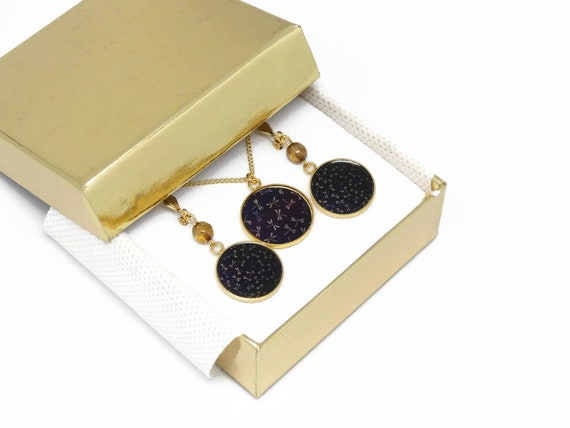 Set necklace earrings Dragonfly brass gold 24 k gold filled 14K Black Brown Japan mother's day birthday Christmas gift