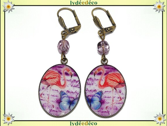 Retro earrings resin exotic flamingos flamingo coral resin Blue rose brass beads, mother's day gift birthday