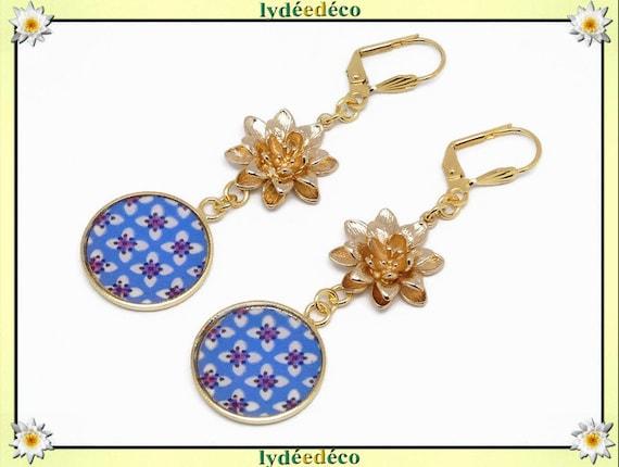 Earrings lotus flower Japan blue white pink washi nenuphar brass gold 24k resin birthday gift party of wedding mothers