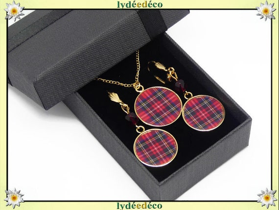 Parure Collier Loops scottish red tartan or gilded brass 24k gold filled 14K red beige black party of mothers birthday gift Christmas