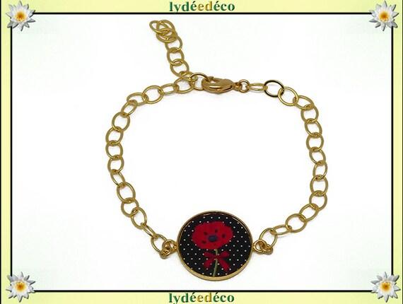 Adjustable bracelet Golden brass gold 24 carat red flower green black resin poppy birthday mother's day gift resin beads