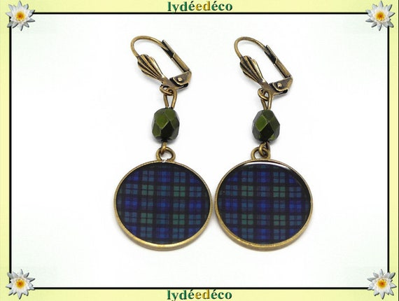 Earrings Tartan Outlander Blue Green Black Watch Plaid brass resin beads party mothers Christmas birthday gift