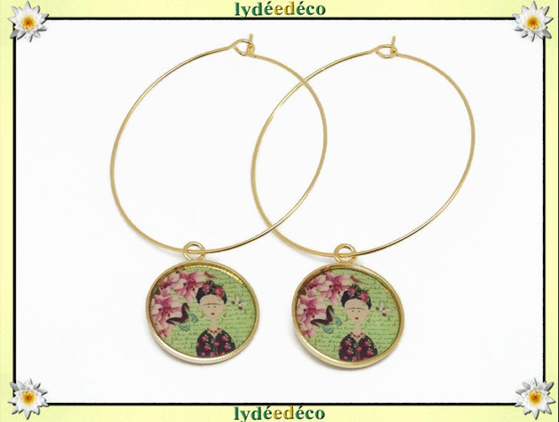 Creole curls Frida Kahlo butterfly flower gold gold gold 24k green pink resin party of mothers birthday gift thank you