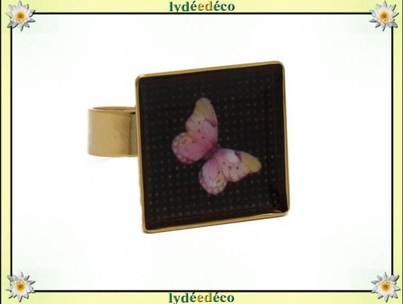 Bague carrée PAPILLON en laiton doré à l'or fin 24 carats 24 K resine rose pastel jaune noir 17mm réglable