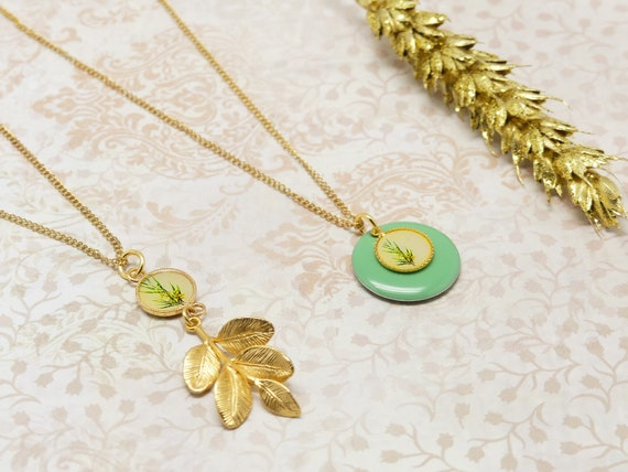 MIMOSA interchangeable pendant pendant yellow pastel green resin chain gold-filled brass gold 24k resin ceremony wedding gift
