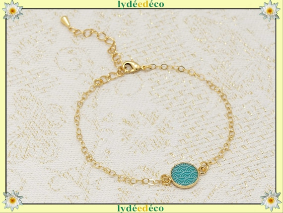 SEIGAIHA gold-daughter bracelet adjustable turquoise gold or pink coral jewel ceremony bride bridesmaid Mother's Day