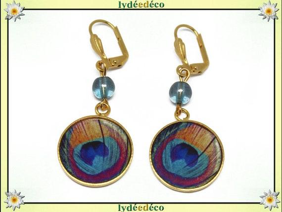 Boucles d'oreilles PLUME PAON laiton or fin 24k bleu turquoise perles résine fete des meres cadeau anniversaire mariage merci maitresse