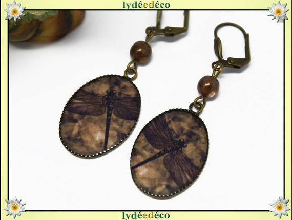 Retro earrings resin Brown sepia Dragonfly beads bronze brass glass drop 25mm clasps shell pendants