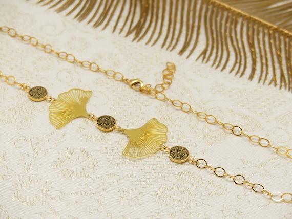 Headband JAPAN flowers lotus ginkgo brass golden fine 24k black resin pearls mother's wedding wedding gift ceremony
