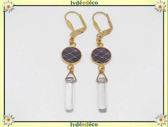 Japan brass earrings fine 24 k gold swarovski crystal waves sea: seigaiha black grey resin gift mother's day birthday Christmas