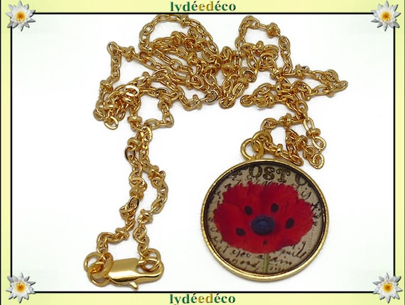 Matinee necklace poppy flower brass gold 24 carat 24 k red black beige resin mothers birthday gift personalized