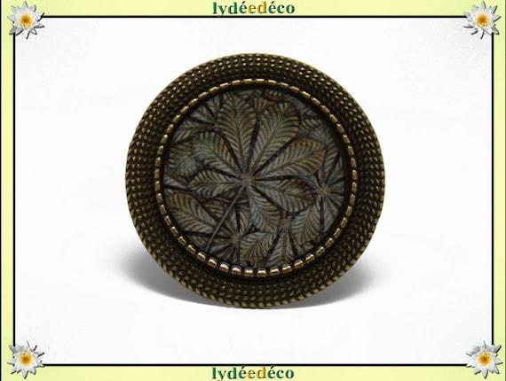 Retro round ring leaf vintage brown beige gray tree resin and brass bronze adjustable 20mm diameter