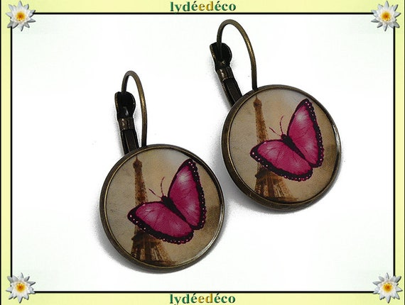 Sleeper earrings retro vintage Butterfly pink black Eiffel Tower Paris brass resin bronze 20mm mother's day birthday Christmas gift