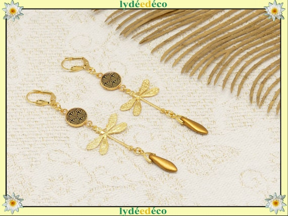 GINKGO Rings Japan Black dragonfly gold brass or fine 24k pearl drop resin gift birthday wedding Christmas