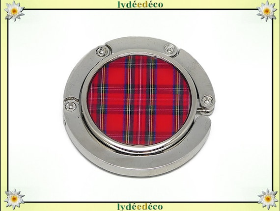 Red tartan Scottish plaid fabric retro bag hangs Outlander resin silver mother of day birthday Christmas gift