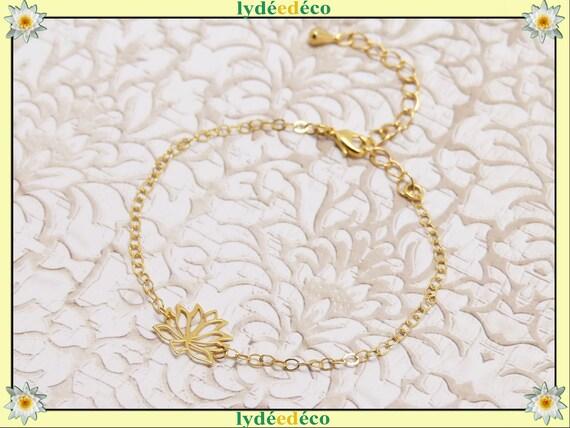 LOTUS gold-filled bracelet or silver 925 or gold pink adjustable jewel ceremony wedding wedding bride bride mother's day