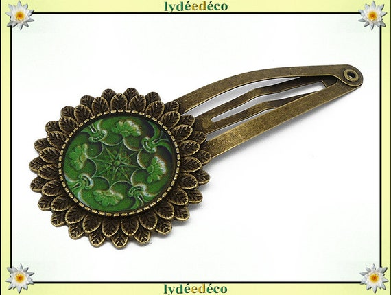 Hair clip wedding retro resin hair clip Azulejos Lisboa green brass bronze mother's day personalized anniversary gift