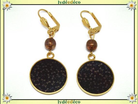 Boucles d'oreilles LIBELLULES laiton or fin 24k Japon noir marron résine perles cadeau anniversaire fete des meres mariage merci maitresse