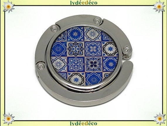 Purse hangs resin tile Lisboa white faience blue silver diameter 4.5 cm gift mother's day Christmas birthday