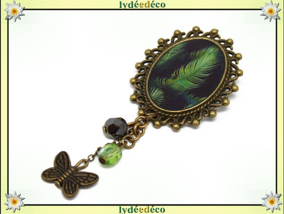 Retro pin resin feather bird Green Black gray brass bronze Oval Pendant 18 x 25mm charms beads