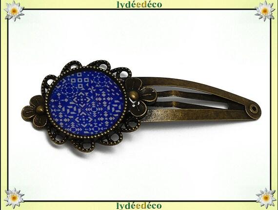 Barrette clip cheveux mariage résine rétro pince Azulejos Lisboa bleu blanc laiton bronze fete des meres cadeau personnalisé anniversaire
