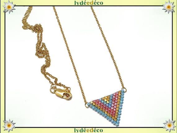 Necklace blue pink gold chevron chain steel triangle weaving stainless mother's day birthday Christmas gift
