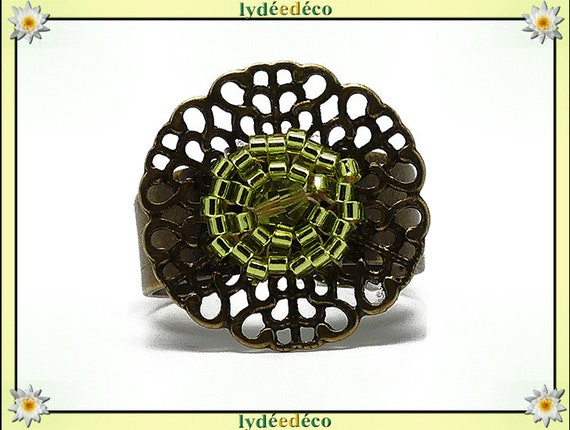 Flower ring brass woven lime green Japanese beads 20mm adjustable mothers gift Christmas birthday party