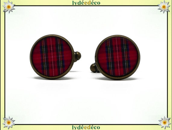 2 button cuff costume red tartan plaid fabric resin Outlander brass 14mm father's master birthday gift